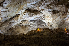 Photo of small stalagmites in the cave. Artificial lighting Royalty Free Stock Photo