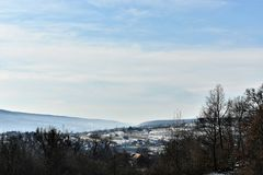 Frozen Town In Romania. A photo of a small town located in Romania. Sovata city Stock Photos