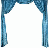The photo of smart curtains from a blue velvet (not 3D) Stock Photography