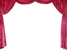 The photo of smart curtains from a red satin velvet Stock Images