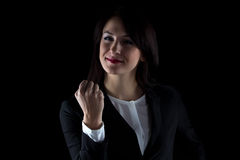 Photo of smiling business woman showing fist Royalty Free Stock Photo