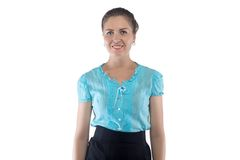 Photo of smiling woman in blue blouse Royalty Free Stock Photography