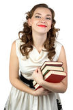 Photo of the smiling woman with books Royalty Free Stock Image