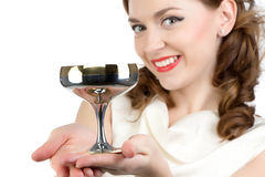 Photo of smiling woman with metal snifter Royalty Free Stock Photography
