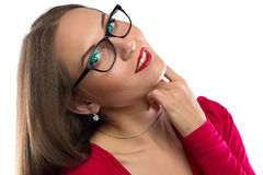 Photo of smiling woman in red, leaned head Stock Photography