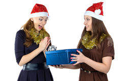 Photo of smiling women with the gift Royalty Free Stock Image