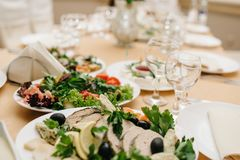 Photo of snack platters on the table stock photos