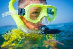 Photo of snorkeling boy Stock Photo