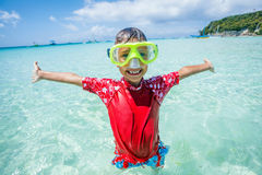 Photo of snorkeling boy Royalty Free Stock Images