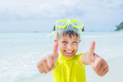 Photo of snorkeling boy Stock Images