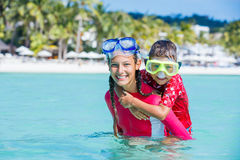 Photo of snorkeling kids royalty free stock photography