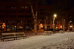 Photo of Snow Covered Benches in the Street Royalty Free Stock Photos