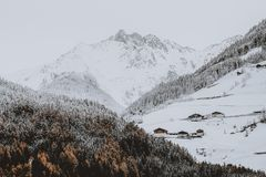 Photo of Snow Covered Mountain Near Forest Royalty Free Stock Photography