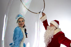 Photo of snow maiden inside the soap bubble Stock Photo