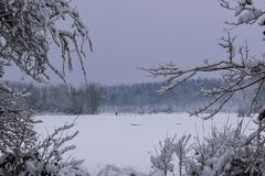Snowy Landscape in French Countryside during Christmas Season / Winter royalty free stock images