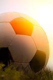 Photo of a soccer ball on grass Royalty Free Stock Photos