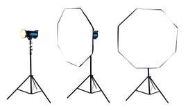 Photo softbox octabox on studio flash. Isolated Stock Photo