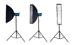 Photo softbox on studio flash. Isolated Royalty Free Stock Images
