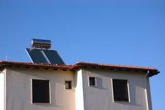 Photo solar energy. Solar energy equipment on the house roof Royalty Free Stock Photography
