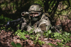 Photo of soldier in ambush Stock Images