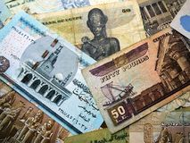 Photo of some Egyptian banknotes from my collection Stock Images