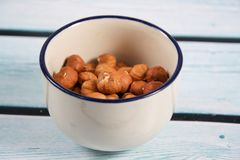 Photo of some hazelnuts. A photo of some hazelnuts royalty free stock photo