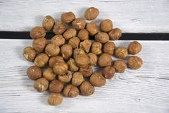 Photo of some hazelnuts. A photo of some hazelnuts royalty free stock photos