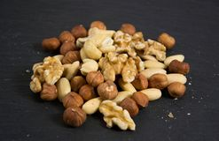 Some mixed nuts. Photo of some mixed nuts royalty free stock photo