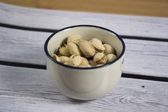 Photo of some pistachios. A photo of some pistachios stock images