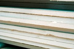 The stack of drywall. Photo of a stack of drywall from close range Royalty Free Stock Images