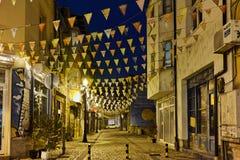 Photo of  street in district Kapana, city of Plovdiv, Bulgaria Stock Photo