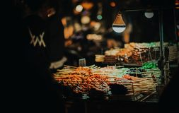 Photo of Street Foods on Cart at Night Royalty Free Stock Photography