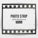Photo Strip Vector. Realistic Empty Frame Strip Blank. Grunge Scratched Template Isolated On Transparent Background. Stock Images