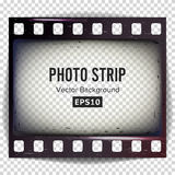 Photo Strip Vector. Realistic Empty Frame Strip Blank. Grunge Scratched Template Isolated On White Background. Royalty Free Stock Image