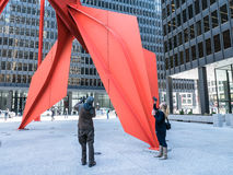 Photo students shoot Calder's Flamingo, Chicago, Illinois Stock Photo