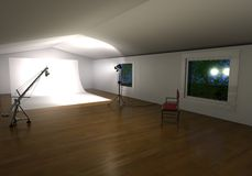 Photo studio. 3d photo studio with lights, background and chair royalty free illustration