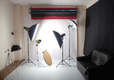 Photo studio. Inside whith the equipment stock photo