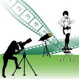 Photo studio. Abstract colorful illustration with photographer and female model shooting pictures in a photo studio Stock Photo