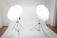 Photo studio. My small photo studio with two lights royalty free stock photos