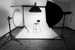 Photo studio. Setup with lighting equipment stock photography