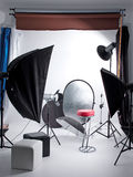 Photo studio. With lighting equipment stock images