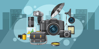 Photo studio banner horizontal city, cartoon style Royalty Free Stock Images