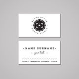 Photo studio business card design concept. Photo studio logo with heart and badge. Vintage, hipster and retro style. Black and white royalty free illustration