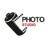 Photo studio camera film vector icon. Camera photographic film vector icon of photo studio or photography school. Symbol or emblem of retro photograph film Royalty Free Stock Photos