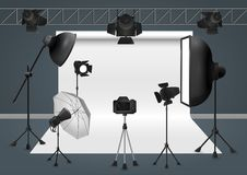Photo studio with camera, lighting equipment flash spotlight, softbox and background. Vector illustration. Stock Photo