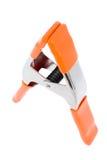 Photo studio clamp. Orange photo studio clamp isolated Stock Photo