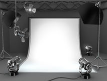 Photo studio equipment background. Black and white Royalty Free Stock Images