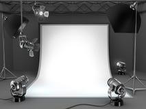 Photo studio equipment background. Royalty Free Stock Images