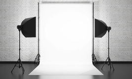 Photo studio equipment on a brick wall background. 3d. Stock Photography