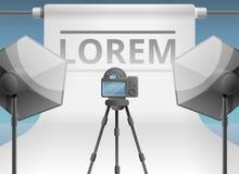 Photo studio equipment concept banner, cartoon style vector illustration